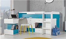 Lit mezzanine enfant en bois, bureau, 3 tiroirs, 3