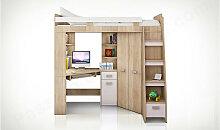 Lit mezzanine enfant en bois, espace bureau et