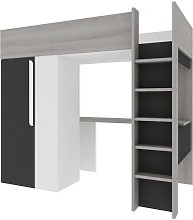Lit mezzanine NICOLAS - 90 x 200 cm - avec armoire