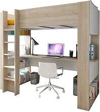 Lit mezzanine NOAH avec bureau et rangements