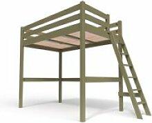 Lit mezzanine sylvia avec échelle bois 120x200