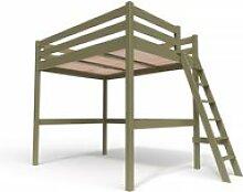 Lit mezzanine sylvia avec échelle bois 140x200
