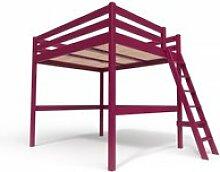 Lit mezzanine sylvia avec échelle bois 160x200