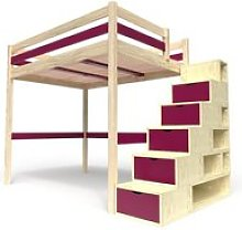 Lit mezzanine sylvia avec escalier cube bois