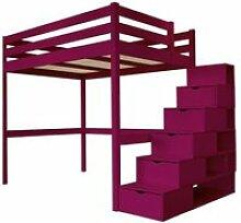 Lit Mezzanine Sylvia avec escalier cube bois -