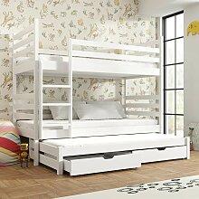 Lit superposé blanc Tomi séparable 90x190