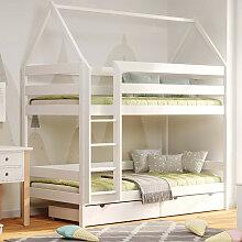 Lit superposé cabane DOMEK pour chambre enfant -