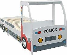 Lit voiture de police avec bureau pour enfants 90