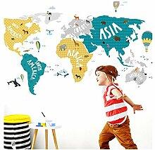 Little Deco Tatouage Mural Carte du Monde Animaux