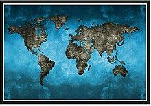 LIUXR Abstrait 3D Carte du Monde Toile Peinture