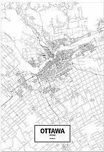 LIUXR Ottawa Ontario Canada Noir et Blanc Carte du