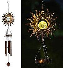 LIUZKH Carillon éolien solaire lumineux lune,