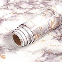 Livelynine Papier Peint Adhésif Marbre Blanc Gris