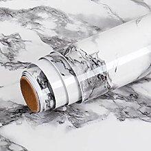 Livelynine Papier Peint Marbre Gris de 40CM*5M