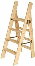 LIYONG Marchepied en Bois Massif Pliant Ladder 4
