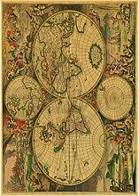 LIZIMO Affiche sur Toile La Vieille Carte du Monde