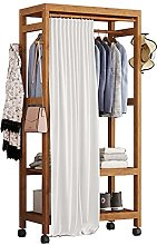 LLLD Portant Vêtements Bambou Avec Roues Penderie