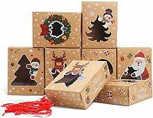 LOKIPA Lot de 12 boîtes à biscuits de Noël avec