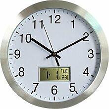 Lommer 30CM Radio Pilotée Horloge Murale Métal