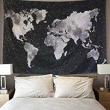 LOMOHOO Carte du Monde Tapisserie Tenture murales