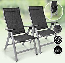 London lot de 2 chaises de jardin aluminium