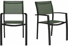Lot 2 chaises de jardin empilables en aluminium et