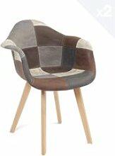 Lot 2 chaises patchwork à accoudoir NEDA (gris