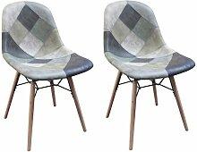 Lot 2 chaises patchwork bleu scandinave vintage -