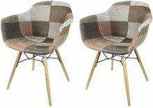 Lot 2 fauteuils patchwork taupe - tendance