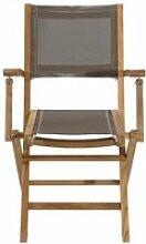 Lot 2 fauteuils pliants en teck et textilène -