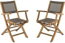 Lot 2 fauteuils pliants teck et textilène taupe -