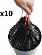 Lot de 10 sacs poubelles  noir plastique 50l