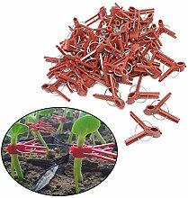 Lot de 100 pinces de jardinage en plastique rouge