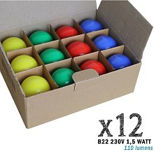 Lot de 12 ampoules LED B22 1,5W Rouges, Bleues,