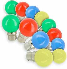 Lot de 12 Ampoules LED B22 Panaché Guirlande