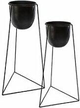 Lot de 2 Cache-Pots sur Pied -Living- 60cm Noir