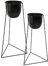 Lot de 2 Cache-Pots sur Pied Living 60cm Noir