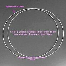 Lot de 2 Cercles métalliques blanc diam. 50 cm