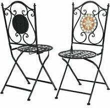 Lot de 2 chaise de jardin pliable style mosaïque