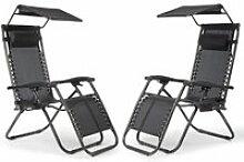 Lot De 2 Chaise Longue Inclinable, Chaise De