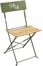 Lot de 2 chaise pliante de jardin taupe-42x48x81cm