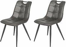 Lot de 2 chaises aspect simili noir vieilli