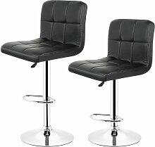 Lot de 2 Chaises de Bar Pour Salon Moderne, Noir