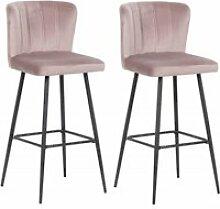 Lot de 2 Chaises de bar velours rose et pieds