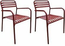 Lot de 2 chaises de jardin aluminium rouge et