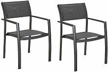 Lot de 2 chaises de jardin en aluminium et