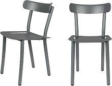 Lot de 2 chaises de jardin en métal gris