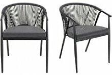 Lot de 2 chaises de jardin noir en aluminium et