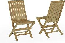 Lot de 2 chaises de jardin pliantes en teck massif