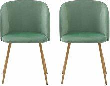 Lot de 2 chaises de salle a manger-Tissu velours